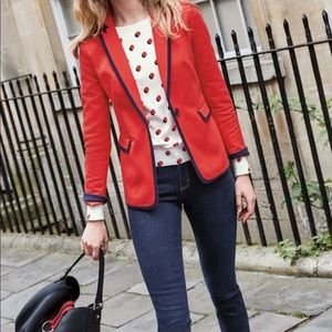 Boden Red Picardy Tipped Red Blazer 4P